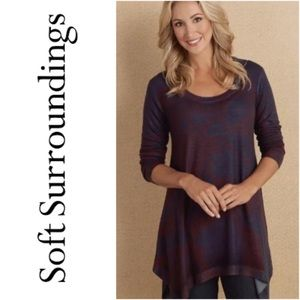 Soft Surroundings Teal Blue & Red Tunic Top